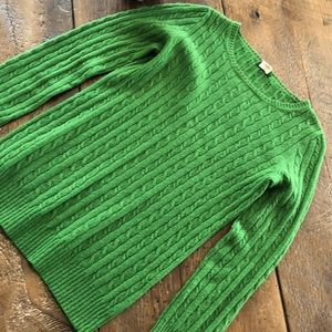 J CREW Green Cable Knit Cashmere Blend Sweater
